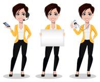 Mujer de negocios, freelancer, banquero Señora hermosa en ropa casual ilustración del vector