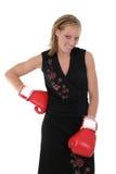 Mujer de negocios hermosa en los guantes de boxeo 10 Fotografía de archivo