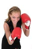 Mujer de negocios hermosa en los guantes de boxeo 6 Foto de archivo