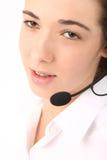 Mujer de negocios hermosa joven que usa el teléfono principal fotografía de archivo