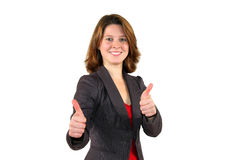 Mujer de negocios hermosa sonriente con los pulgares para arriba Fotografía de archivo libre de regalías