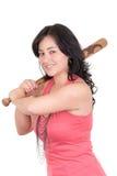 Mujer de negocios hispánica con el bate de béisbol en manos Imagen de archivo