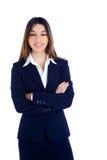 Mujer de negocios india asiática que sonríe con el juego azul Imagen de archivo