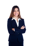 Mujer de negocios india asiática que sonríe con el juego azul Foto de archivo