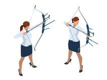 Mujer de negocios isométrica que tira un arco y una flecha ?xito La flecha golpeó el centro de la blanco Blanco del asunto libre illustration