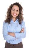 Mujer de negocios joven aislada atractiva y sonriente en azul Imagen de archivo libre de regalías