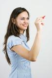 Mujer de negocios joven alegre sonriente feliz Fotografía de archivo libre de regalías