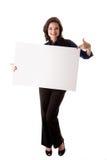 Mujer de negocios joven con la tarjeta blanca Fotografía de archivo