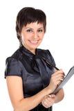 Mujer de negocios joven con una pluma Foto de archivo libre de regalías