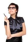 Mujer de negocios joven con una pluma Fotos de archivo