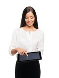 Mujer de negocios joven, confiada, acertada y hermosa con t Fotografía de archivo