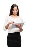 Mujer de negocios joven, confiada, acertada y hermosa con t Imagen de archivo
