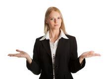 Mujer de negocios joven confusa Fotografía de archivo