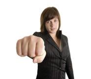 Mujer de negocios joven del boxeo Fotografía de archivo