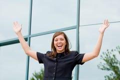 Mujer de negocios joven entusiástica Imagen de archivo libre de regalías