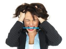 Mujer de negocios joven frustrada foto de archivo libre de regalías