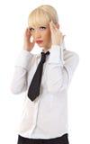Mujer de negocios joven hermosa con dolor de cabeza Fotografía de archivo
