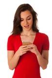 Mujer de negocios joven hermosa que muestra una nota feliz Foto de archivo