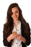 Mujer de negocios joven hermosa que muestra una nota feliz sobre ella elegante Fotos de archivo