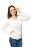 Mujer de negocios joven linda con los vidrios Imagenes de archivo