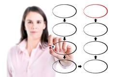 Mujer de negocios joven que dibuja el organigrama de ocho fases en blanco de la estrategia, fondo blanco. fotos de archivo libres de regalías