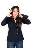 Mujer de negocios joven subrayada en el trabajo Imagenes de archivo