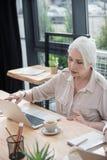 Mujer de negocios mayor que trabaja en el ordenador portátil Fotos de archivo libres de regalías