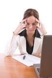 Mujer de negocios preocupante Foto de archivo libre de regalías