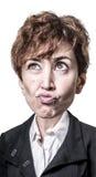 Mujer de negocios principal grande de la marioneta divertida Imagen de archivo