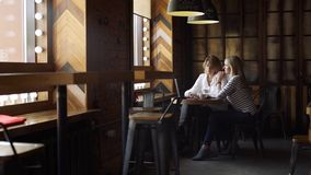 Mujer de negocios que consulta a su cliente en café almacen de video