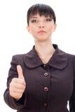 Mujer de negocios que da OK Imagenes de archivo