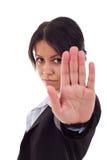 Mujer de negocios que dice la parada imagenes de archivo