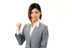 Mujer de negocios que disfruta de éxito Foto de archivo libre de regalías