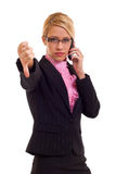 Mujer de negocios que gesticula los pulgares abajo Imágenes de archivo libres de regalías