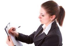 Mujer de negocios que hace la presentación en la tarjeta Imágenes de archivo libres de regalías