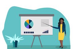 Mujer de negocios que hace una presentación de whiteboard con infographics stock de ilustración