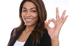 Mujer de negocios que indica éxito Imagen de archivo