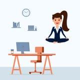 Mujer de negocios que medita en paz sobre la tabla de la oficina Gestión de tiempo, alivio de tensión y conceptos de la solución  ilustración del vector