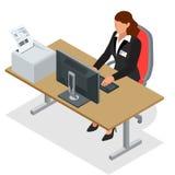 Mujer de negocios que mira la pantalla del ordenador portátil Mujer de negocios en el trabajo Mujer que trabaja en el ordenador O libre illustration