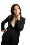 Mujer de negocios que mira lejos con la visión del asunto imagen de archivo libre de regalías