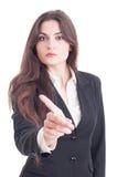 Mujer de negocios que muestra el dedo índice como ningún, la disminución o la basura Fotos de archivo
