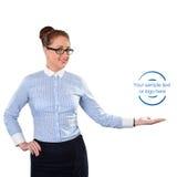 Mujer de negocios que muestra el espacio de la copia para arriba Imagenes de archivo