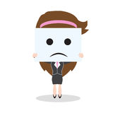 Mujer de negocios que muestra la cara de la tristeza en el fondo blanco, ejemplo del vector en diseño plano ilustración del vector