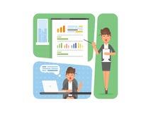 Mujer de negocios que muestra la presentación del proyecto, gráficos de las estadísticas de las ventas en la pantalla de la prese fotografía de archivo libre de regalías