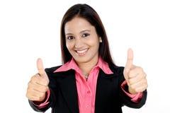Mujer de negocios que muestra los pulgares para arriba Fotografía de archivo libre de regalías