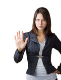 Mujer de negocios que muestra una parada del gesto Imagenes de archivo