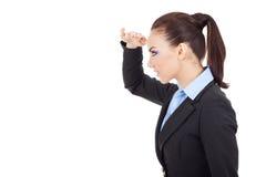 Mujer de negocios que parece lejana Imagen de archivo