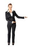 Mujer de negocios que presenta algo en las manos vacías Foto de archivo