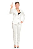 Mujer de negocios que presiona el botón Imagenes de archivo