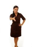 Mujer de negocios que sacude las manos Imagen de archivo